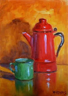 """Daily Paintworks - """"Old tin cup and coffee pot."""" - Original Fine Art for Sale - © Phyllis McAdams"""