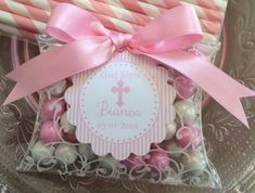 First Communion, Baptism, Confirmation or Christening Pillow Box With Lacey Scroll Candy Filled Favor on Etsy, $25.00