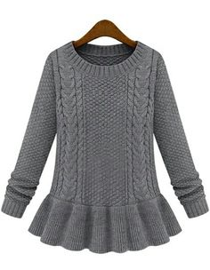 Grey Peplum Sweater! Adorable