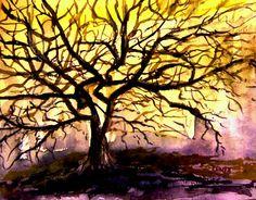 Apple tree and sunshine. 27 x 22 cm. Original by Klagisgallery