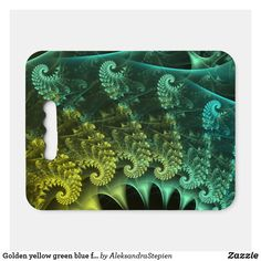 seat cushion created by AleksandraStepien. Golden Yellow, Blue Green, Logo For School, Stadium Seat Cushions, Geometric Flower, Spirals, Fractals, Light In The Dark, Fundraising