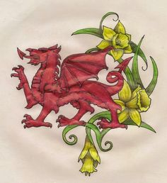 Lovely Welsh dragon and daffodils drawing/painting Tribal Dragon, Red Dragon, Tribal Wolf, Tribal Lotus Tattoo, Welsh Tattoo, Tattoo Cover Up, Daffodil Tattoo, Saint David's Day, Welsh Dragon