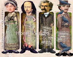 Printable Jane Austen Bookmark set- Famous Authors-Jane Austen, William Shakespeare, Twain and edgar Allen Poe