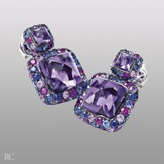 Fantasia earrings. Earrings in white gold with blue sapphires, pink sapphires and amethyst - Roberto Coin