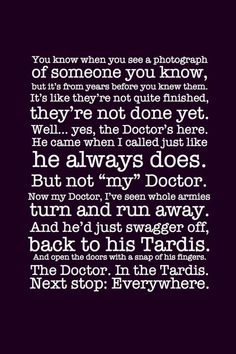 The Doctor. In the TARDIS. Next stop: Everywhere. The beginning and end of River Song.