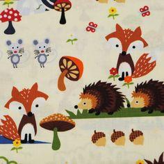 Timeless Treasures, bushy. Foxes, hedgehogs, deer. Cotton fabric. Bosdieren kinderstof.