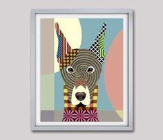 Doberman Art, Doberman Pinscher, Doberman Gifts, Dog Portrait Painting, Pop Art Dog, Dog Lover Gift, Cute Dog, Dog Wall Art