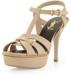 Saint Laurent Tribute Leather Mid-Heel Platform Sandal, Nude on shopstyle.com