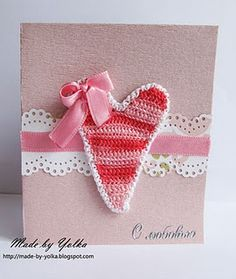 card with heart, ribbon and lace