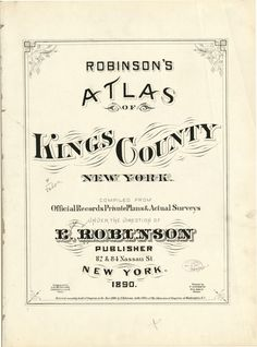 Robinson's Atlas of Kings County, New York - Title Page | Library of Congress