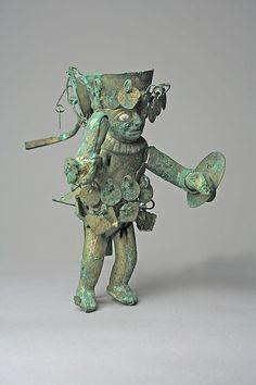 Warrior Figure Date: 390–450 Geography: Peru Culture: Moche (Loma Negra) Medium: Gilded copper, shell, stone