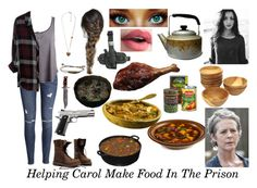 """""""Aubrey Helping Carol Make Food In The Prison 'The Walking Dead'"""" by smb9807 ❤ liked on Polyvore featuring Forever 21, Younique, Holster, Hot Topic, Equipment, H&M, Rails, zombies, apocalypse and thewalkingdead"""