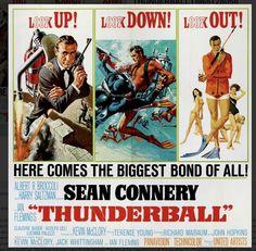 James Bond Thunderball six sheet movie poster. Art by Robert McGinnis and Frank McCarthy. James Bond Movie Posters, James Bond Books, Old Movie Posters, Classic Movie Posters, James Bond Movies, Original Movie Posters, Classic Movies, James Movie, Iconic Movies