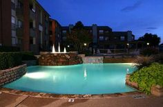 Night view of main pool at Pace's Crossing Apartments in Denton, TX Large Tub, Hot Tubs, High Resolution Photos, Jacuzzi, Pools, Apartments, The Neighbourhood, Photo And Video, Night