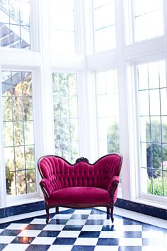 Glam pink lounge furniture...with just a tad more fullness to the exposed wood...perfection