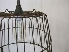 Vintage Egg Basket Light Pendant by TheWeatheredWindows on Etsy, $135.00