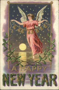 NEW YEAR Angel w String of Bells and Mistletoe Over Water c1910 Postcard