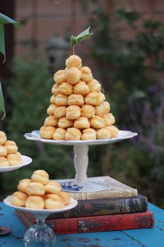 cream puff tower (Costco makes this a cheap and lovely presentation)