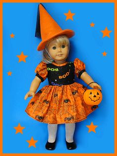 Sparkle Halloween Spiders and Spider Web Dress  for American Girl Doll or other 18 inch doll. $14,99, via Etsy.