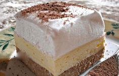 postup: Sušenky smícháme s kaštanovým pyré, aroma a rozpuštěným máslem. Vypracujeme jednotnou hmotu, kterou navrstvíme do papírem vyložené formy. Z mléka a pudinku uvaříme hustý pudink, necháme vychladnout a pak do něj po lžičkách vmícháme máslo vyšlehané s cukrem. Smetanu ušleháme s vanilkovým cukrem a ztužovačem. Na těsto navrstvíme pudinkový krém, na něj šlehačku a …