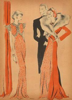 Norman Hartnell 1937 Evening Gown, Reynaldo Luza, Fashion Illustration