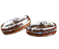 Abalone tungsten wedding band with real koa wood and abalone center. Wood wedding ring makes perfect his or her wedding band set. Free Shipping on all wood wedding bands. Under $90.