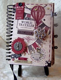 "Carta Bella ""Well Traveled"" Vintage Travel Journal... Want to do this When I Travel!"