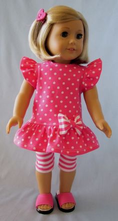 American Girl Doll Clothes - Pink and White Knit Dress and Leggings Sewing Doll Clothes, American Doll Clothes, Baby Doll Clothes, Sewing Dolls, Clothes Crafts, Doll Clothes Patterns, Dress Clothes, Doll Patterns, Doll Dresses