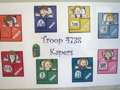 Cute kaper chart made with paper dolls from http://www.makingfriends.com/friends/f+brownie.htm