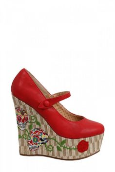 Inked Boutique - Calavera 4.5 Inch Closed Toe Wedge Red Day of the Dead Sugar Skulls Roses Tattoo Punk Rockabilly Psychobilly Pinup Shoes http://www.inkedboutique.com