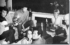 Elvis and Priscilla in Hawaii with Tom Jones, Charlie Hodge, Joan Esposito and Nora Fike 1969.