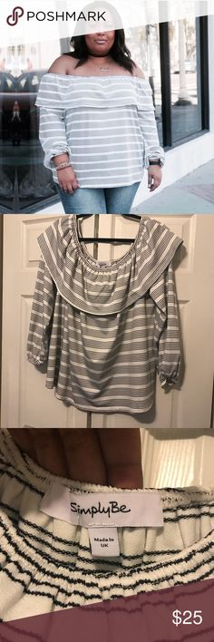 Off the shoulder top Off the shoulder top. Size 2 (18/20) long sleeves. Black and white. Simply Be Tops Blouses