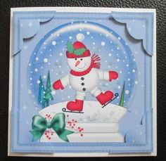 Card Gallery - 8 x 8 Xmas Skating Snowman Snowglobe Scalloped Corner
