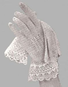 Gorgeous vintage crochet lace gloves.  It's a paid pattern apparently- Source:  http://crochet-patterns.ecrater.com/p/11058308/crochet-bridal-pattern-gloveshandmade-thread