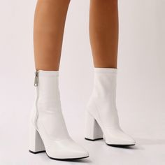 Renzo Sock Fit Ankle Boots in White - Bottes Dr Shoes, Sock Shoes, Cute Shoes, Me Too Shoes, White Gogo Boots, White Ankle Boots, Pointed Ankle Boots, Boating Outfit, Prom Heels