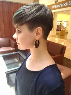 Jamie with a fade and aqua highlights by S. William Moore II (women's short haircut and color)