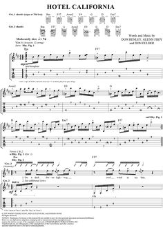 "Buy ""Hotel California"" Sheet Music by Eagles for Easy Guitar Tab/Vocal Guitar Tabs Acoustic, Easy Guitar Tabs, Music Tabs, Easy Guitar Songs, Guitar Chords For Songs, Acoustic Guitar Lessons, Guitar Tips, Ukulele Fingerpicking, Fingerstyle Guitar"