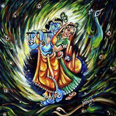 Krishna Painting - Radhe Krishna by Harsh Malik