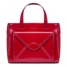 Red Polished Leather Envelope Medium Louise: <p>Step into the new season in style with the luxurious Medium Louise in striking red. Crafted from premium polished leather, this update on our popular Amelia bag sees the addition of an external envelope pocket with appliqu
