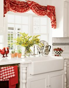 Modern curtains 2019 for living rooms, kitchens and bedrooms Decor, Paint For Kitchen Walls, Kitchen Curtains, Modern Kitchen Curtains, Red Kitchen Accents, Kitchen Window Treatments, Kitchens And Bedrooms, Red Kitchen Curtains, Curtain Decor