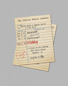 The Invitation  Wedding Ideas    Library Card