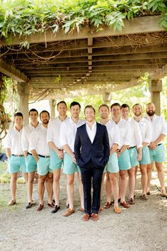The groomsmen in SHORTS! I absolutely love this idea! :D