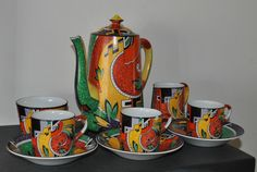 Royal Winton c1934 Jazz Pattern Art Deco Coffee Pot And Part Set