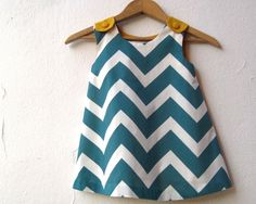 The Ava Dress - organic toddler girls dress in peacock blue teal green chevron and gold / eco friendly mod geometric fashion (made to order). via Etsy.