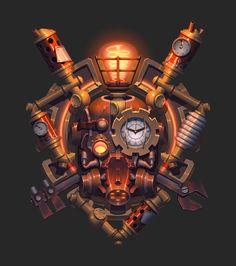 """""""蒸汽朋克""""的图片搜索结果 Game Design, Icon Design, Gui Interface, Mechanical Art, Game Props, Game Logo, Logo Concept, Coat Of Arms, Steampunk Fashion"""