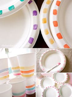Little shots of watercolor paint to make plain paper plates and cups look awesome for a party.
