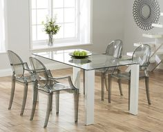 Lavina 150cm Glass and White High Gloss Dining Table with Philippe Starck Style Ghost Chairs