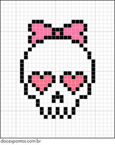 Free cross stitch chart of a girlie skull