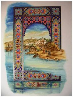 1 Islamic Paintings, Turkish Art, Arabic Art, Islamic Art Calligraphy, Arabesque, Pattern Art, Collage Art, Folk Art, Art Drawings
