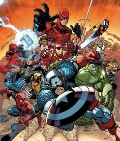 Marvel has provided CBR with an exclusive first look at Nick Bradshaw's variant cover for 'Avengers vs. X-Men' featuring mainstays from the Avengers, New Avengers and Secret Avengers. Marvel Avengers, Marvel Comics Art, Marvel Heroes, Cosmic Comics, Avengers Memes, Marvel Comic Character, Marvel Characters, Comic Manga, Comic Art